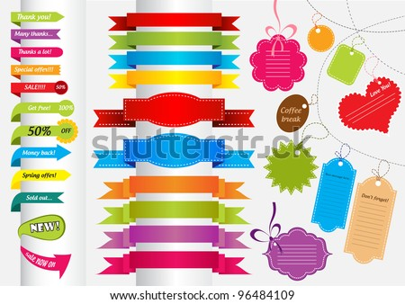 Collection of colorful stickers, banners, labels and scrapbook elements