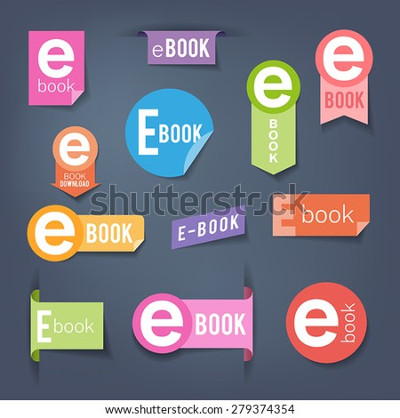 Collection of colorful stickers. Labels symbolizing e-book downloading.