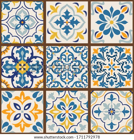 collection of 9 colorful tiles