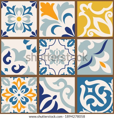 Collection of 9 colorful tiles. Seamless patchwork tile with Islam, Arabic, Indian, Ottoman motives. Majolica pottery tile, blue, yellow azulejo, original traditional Portuguese Spain decor. Vector