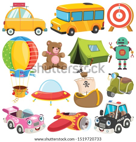 Collection Of Colorful Toys And Objects stock photo