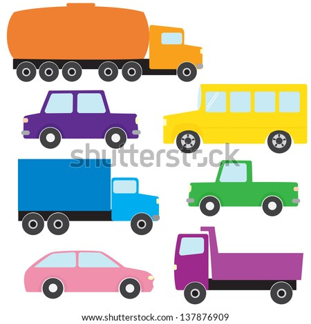 Collection of colorful truck and car icons