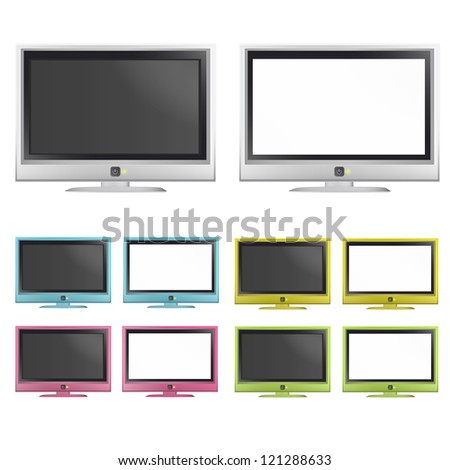 Collection of colorful TV. Vector design.