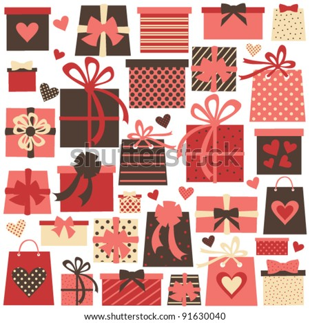 Collection of colorful Valentine/birthday/Christmas presents isolated on white. Raster version available in my portfolio