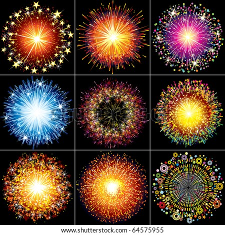 Collection of Colorful vector fireworks, sparklers, salute and petards explosions - design elements isolated over black night sky - stock vector