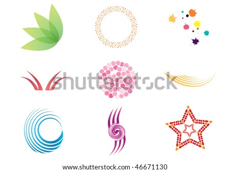 Collection of colorful vector symbols and icons.