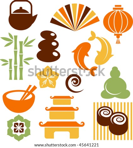 Collection of colorful Zen icons - vector illustration