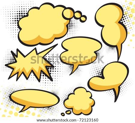 Collection of comic speech bubbles. Editable Vector illustration.