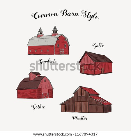 Collection of common barn style, hand draw sketch vector.