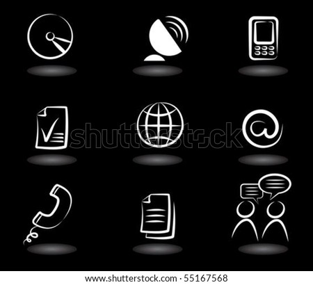 Collection of  communication icons on black background