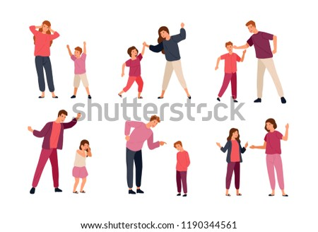 Collection of conflicts between parents and children isolated on white background. Problem of mutual aggression, offensive behavior, disobedience. Colorful vector illustration in flat cartoon style.