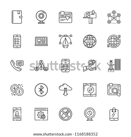 Collection of 25 connection outline icons include icons such as telephone, smartphone, settings, internet, webcam, bluetooth, laptop, bombs, cell phone, address book, browser #1168188352
