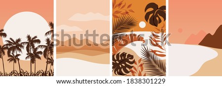 Collection of contemporary abstract art posters. Paper cut male & female, abstract & floral collages, landscape scenes. Design for social media, wallpapers, postcards, prints, romance.