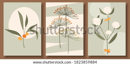Collection of contemporary art posters in pastel colors. Abstract  geometric elements and shapes, leaves and flowers. Great design for social media, postcards, print.