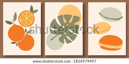 Collection of contemporary art posters in pastel colors. Abstract  geometric elements and strokes, leaves and fruits, macaroons, oranges. Great design for social media, postcards, print.