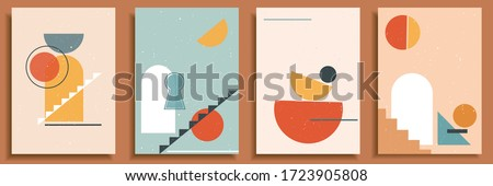 Collection of contemporary art posters in pastel colors. Abstract paper cut geometric elements , shapes and strokes, dots. Great deisgn for social media, postcards, print.