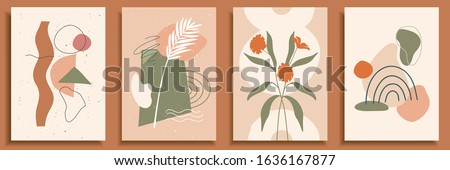 Collection of contemporary art posters in pastel colors. Abstract paper cut geometric elements and strokes, leaves and dots. Great deisgn for social media, postcards, print.