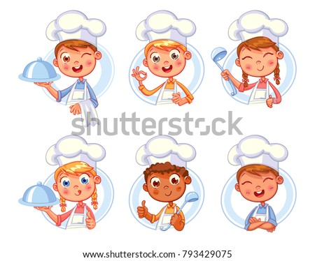 Collection of Cook Chef portraits in different situations. Child in a cook's cap and with a towel, holds a ladle. Kid makes gesture ok, holding dish with food. Logo design template for baby food. Set