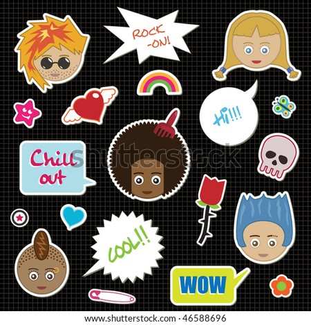 collection of cool kid stickers with speech bubbles