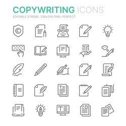 Collection of copywriting related line icons. 256x256 Pixel Perfect. Editable stroke