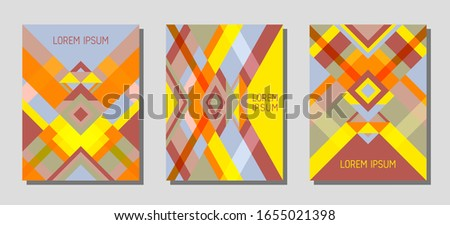 Collection of cover page layouts, vector templates geometric design with triangles and stripes. Folklore brazilian motifs. Bauhaus pattern vector covers design. Trendy rhombus stripe triangle shapes.