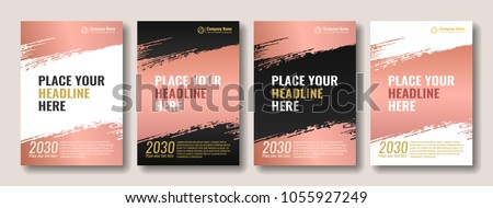 Collection of covers with brush strokes for books, magazines, catalogs. Rose gold. Vector illustration.