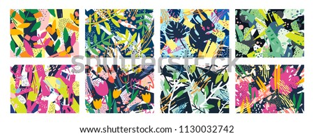 Collection of creative abstract horizontal backgrounds or backdrops with tree branches, leaves, colorful stains and scribble. Bright colored decorative vector illustration in trendy artistic style
