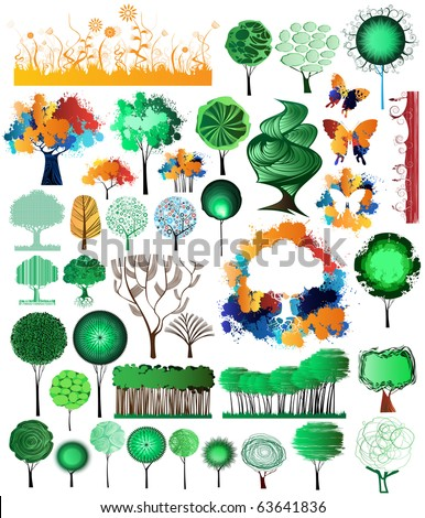 Collection of creative and original design nature theme vector elements. Vector file is easy editable, drawings grouped.