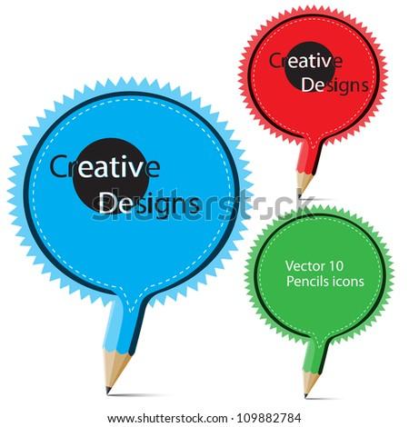 Collection of creative pencil symbols vector.