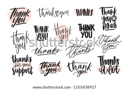Collection of creative Thank You lettering compositions written with decorative calligraphic font. Bundle of gratitude phrase decorated with cute elements. Hand drawn vector inscriptions.