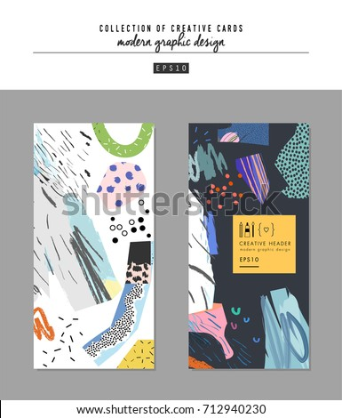 Collection of creative universal artistic cards. Hand Drawn textures. Trendy Graphic Design for banner, poster, card, cover, invitation, placard, brochure, blog