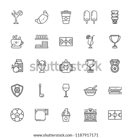 Collection of 25 cup outline icons include icons such as coffee, croissant, medal, football field, golf, baby mug, baby food, coffee cup, stapler, cocktail, trophy, wine glass