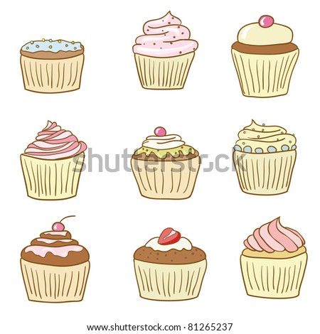 collection of 9 cupcakes