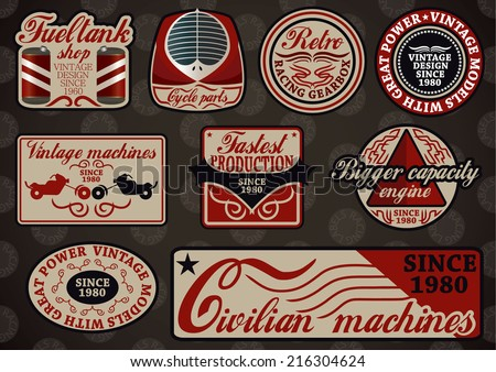 Collection of customizable motor sport retro labels