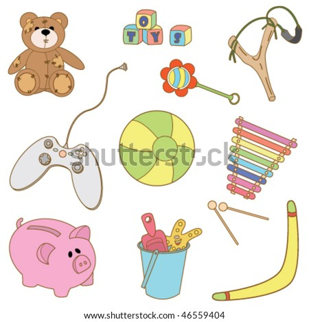 Collection of cut color doodles on the toys theme isolated on white background