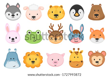 Collection of cute animal characters in cartoon style. Set of cute animal heads. Cartoon zoo. Giraffe, rabbit, bear, monkey, hippo, sheep, pig, lion, penguin, tiger, donkey, frog, fox, deer. Vector.  Stock photo ©
