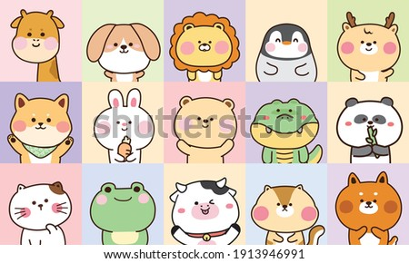 Collection of cute animals hand drawn on pastel color background.Cartoon character design set.Rabbit,bear,dog,penguin,frog,fox,giraffe,cat,shiba inu,lion,cow doodle.Kid graphic.Vector.Illustration.