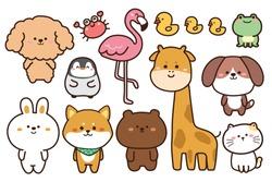 Collection of cute animals hand drawn on white background.Cartoon character design set.Rabbit,bear,dog,penguin,frog,duck,crab,flamingo,giraffe,cat,shiba inu doodle.Kid graphic.Vector.Illustration.