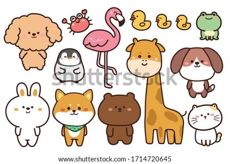 Collection of cute animals hand drawn on white background.Cartoon character design set.Rabbit,bear,dog,penguin,frog,duck,crab,flamingo,giraffe,cat,shiba inu doodle.Kid graphic.Vector.Illustration. Photo stock ©