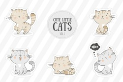 Collection of cute baby kitty cats. Hand drawn kittens cartoon character stickers. Icon design collection.