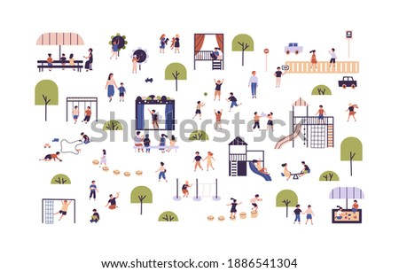 Collection of cute boys and girls enjoying outdoor activities vector flat illustration. Set of children playing games, having fun at playground, walking, spending time together isolated on white Сток-фото ©