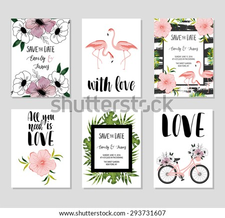 Retro Style Cute Valentine S Day Cards Download Free Vector Art