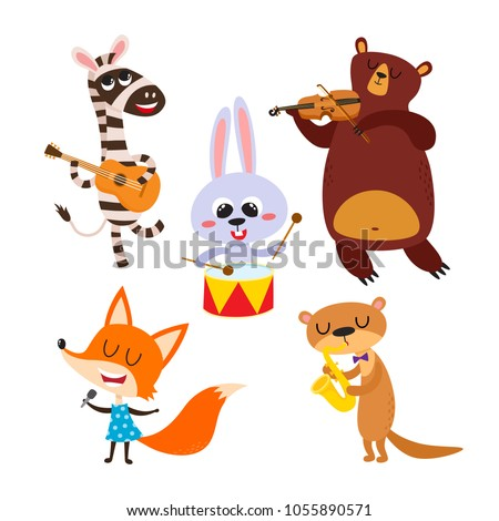 Collection of cute cartoon animals with muzical instruments isolated on white. Vector illustration of animal character in music band used for magazine, children book, poster and card. Imagine de stoc ©