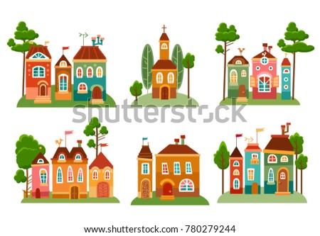 Collection of cute cartoon houses in childlike style. Sweet home