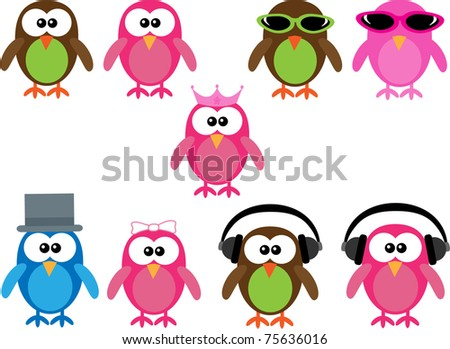 cartoon images of owls. stock vector : Collection of