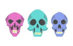 Collection of cute cartoon skulls.