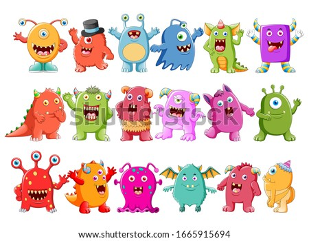 Collection of cute character monster illustrations Foto stock ©