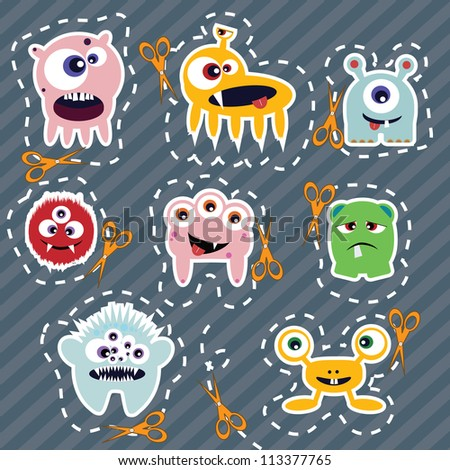 Collection of cute colorful monsters with scissors, vector