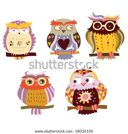 Collection of cute, colorful owls. - stock vector