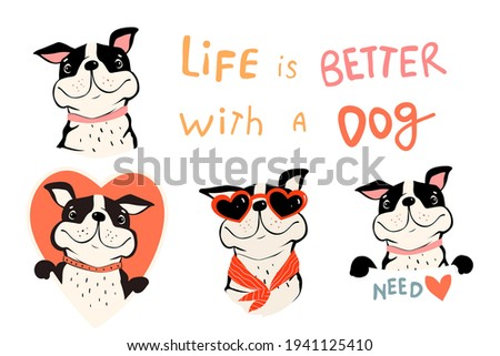 Collection of cute dogs, french bulldog or pug with quote and holding sign. Pet lovers symbols with Heart shapes. Fun Vector clipart in simple flat style for dog lovers. Zdjęcia stock ©